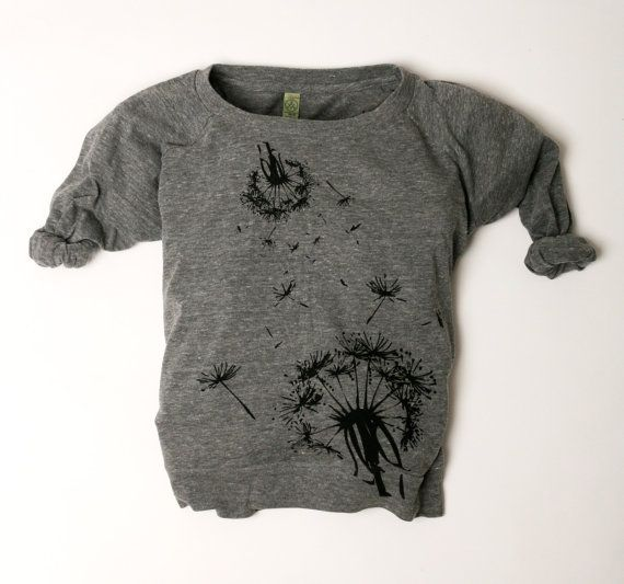 ladies sweatshirt grey dandelion flower women wide neck fashion handmade print S M L XL on Etsy, $45.00