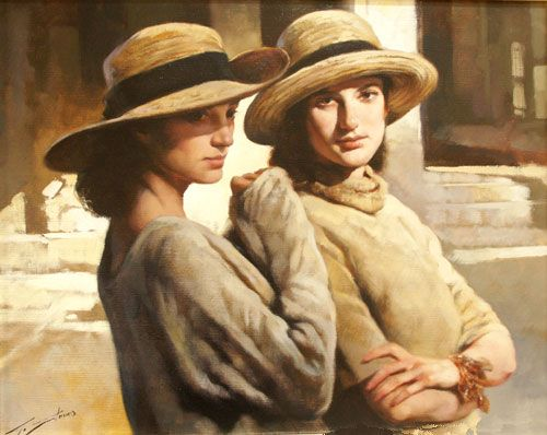 Two young ladies in hats, Gianni Strino