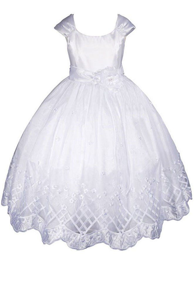 464fe4c9a8323 Amazon.com: AMJ Dresses Inc Big Girls' White Flower Girl Communion Dress  Size 8: Special Occasion Dresses: Clothing