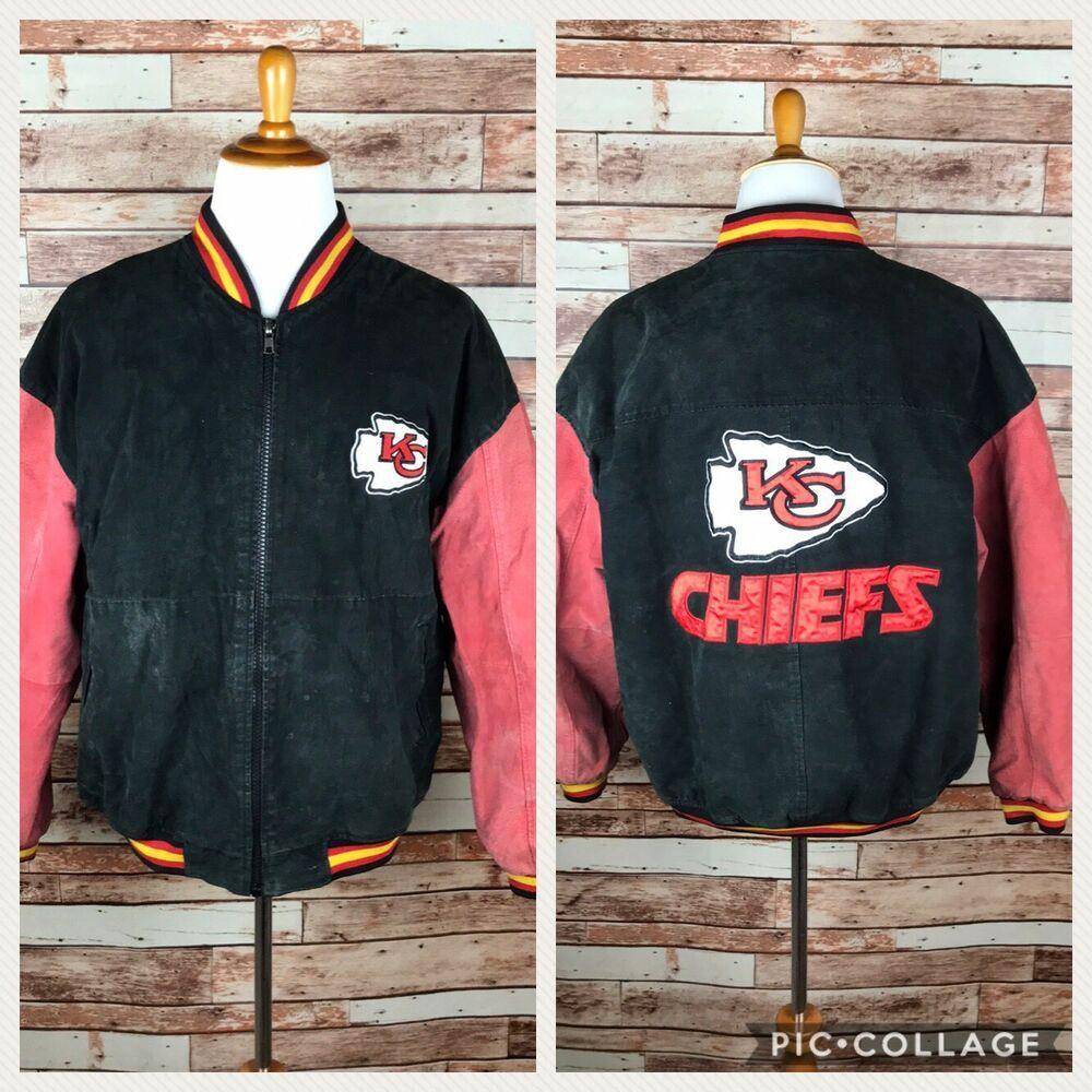 Vintage Kansas City Chiefs Football Logo Nfl Game Day Red Suede Leather Coat Lg Ebay Vintage Coat Leather Coat Red Suede [ 1000 x 1000 Pixel ]