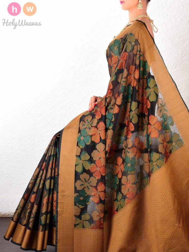 Images of saree black cotton silk floral cutwork brocade woven saree