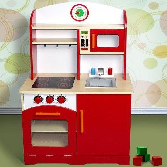 Red Play Kitchen Set children play kitchen kids wooden oven set sink microwave cabinet