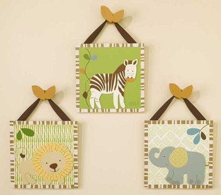 Animales de la selva en la habitaci n del beb house for Cuadros habitacion bebe