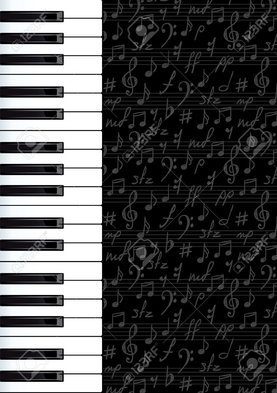Abstract Background With Piano Keys And Musical Symbols Vector