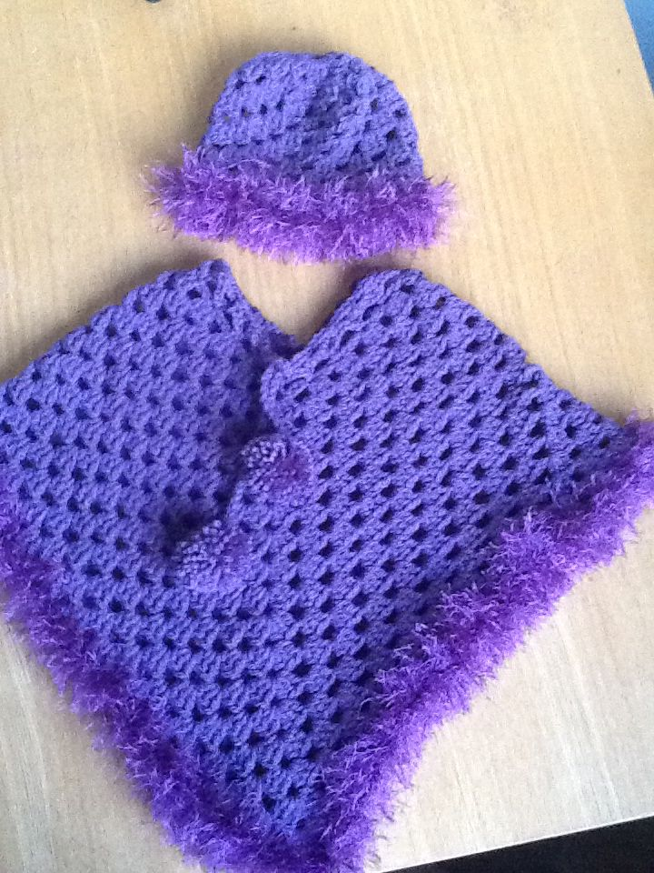 Purple Crochet Poncho. From The Wee Crafty House