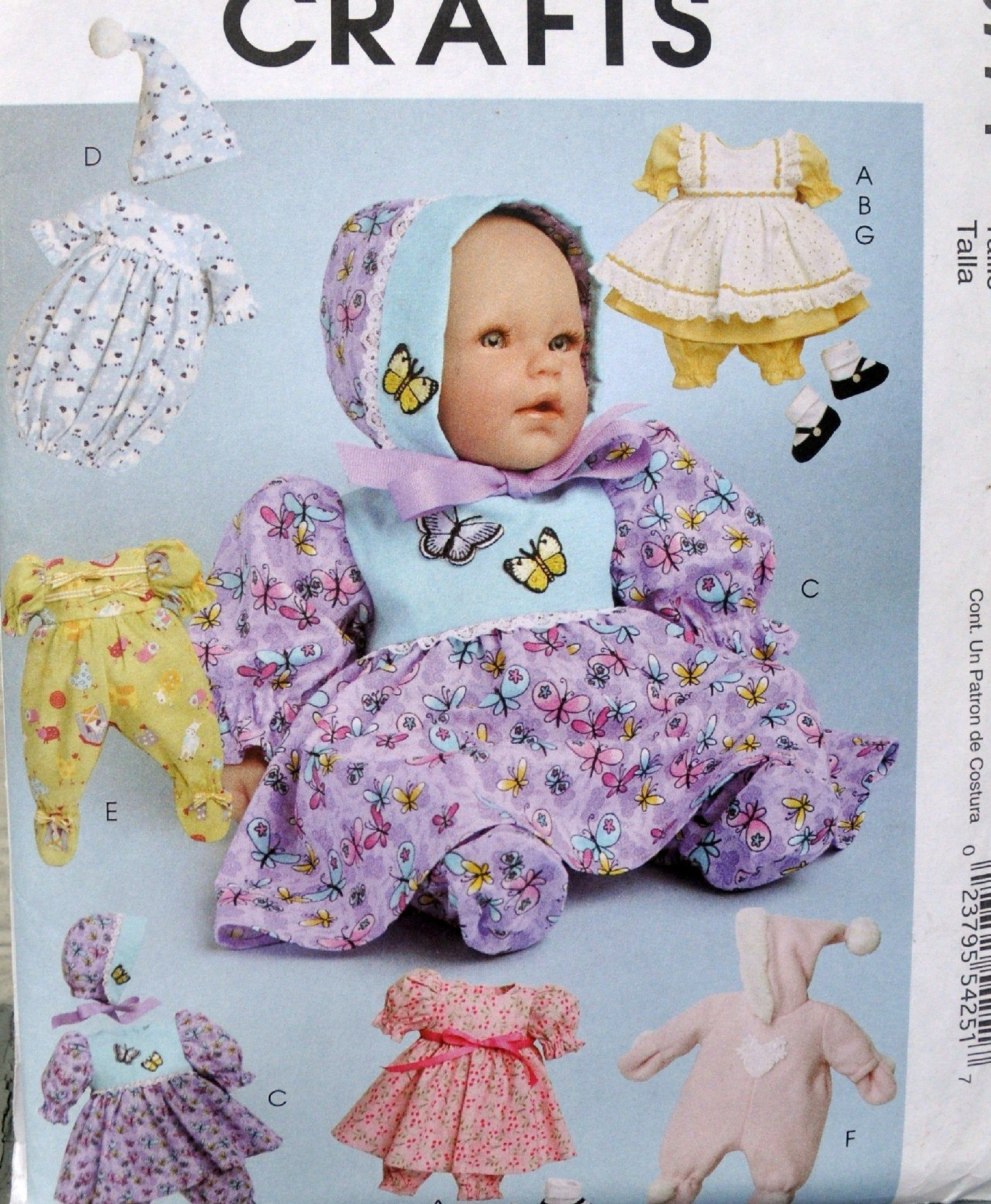 Mccall S 5774 Cute Diy Baby Doll Clothes For 11 13 And 14 16 Dolls Dress Pajamas Bunting Kawai Baby Doll Clothes Cute Diys Doll Sewing Patterns