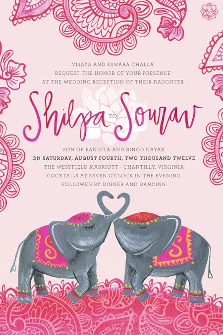 I like the fonts on this invite . Julie Song. Indian theme invite