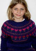 Warm winter sweater for a 6 to 8 year old girl. Knitted in the round, from the bottom up, with a round yoke in fair isle technique. Sleeves are knitted flat and then joined at the yoke, so there is a sleeve seam to be closed by sewing.