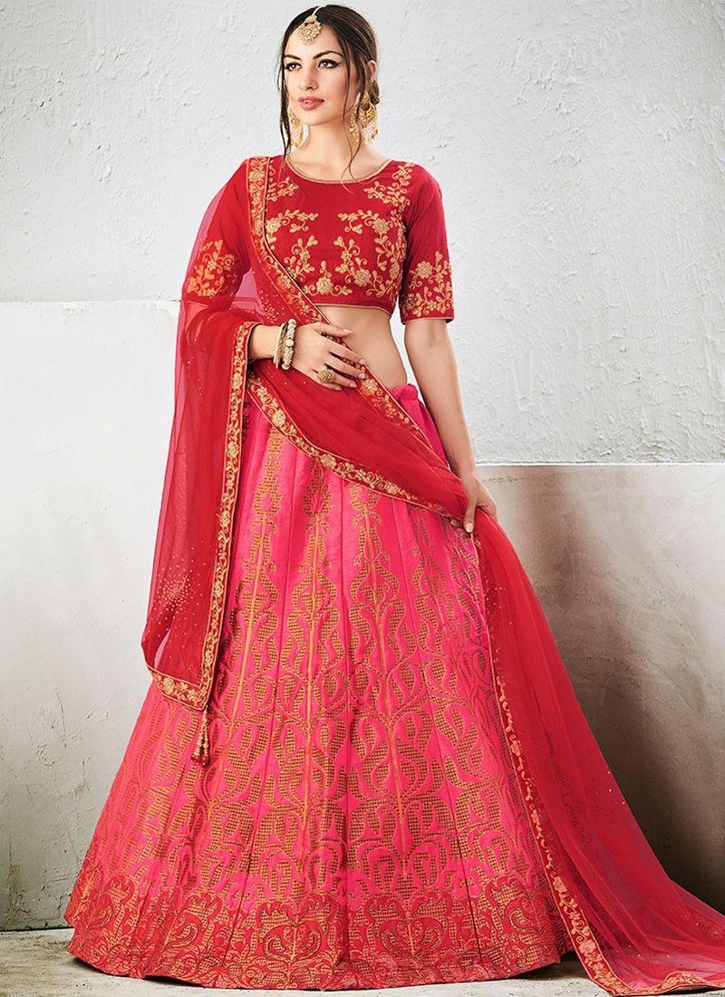 aba0440611 Integral Hot Pink Lace Work Jacquard Silk Lehenga Choli | Designer ...
