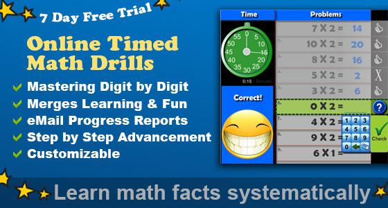 1 line Timed Math Drills Math Facts Program