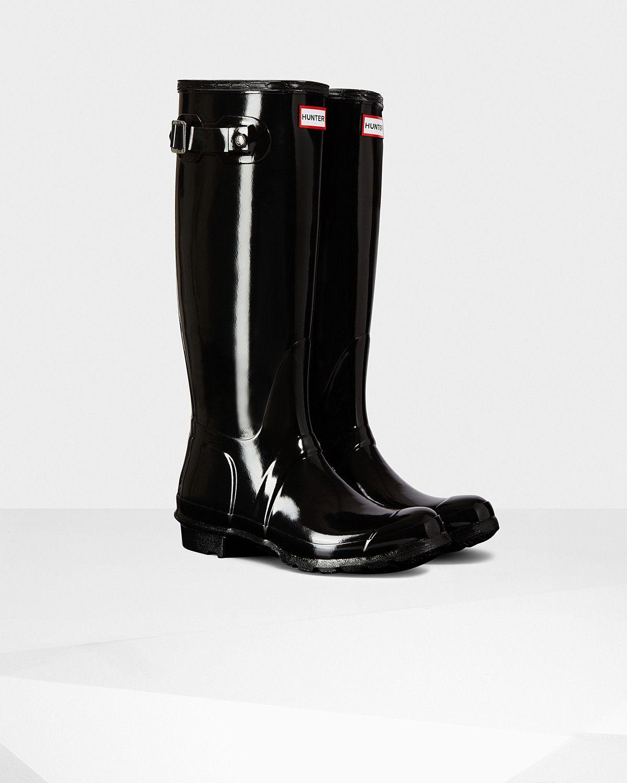Buy Women Shoes / Hunter Originals Black Gloss Wellington Boots