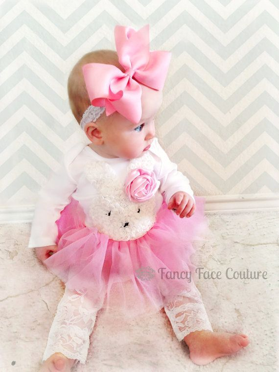 Easter Bunny Outfit Baby Girl Newborn Take Home Outfit Pink Rosette Pink Tutu Lace Tights Little Girls Easter Clothes Baby Girl Newborn