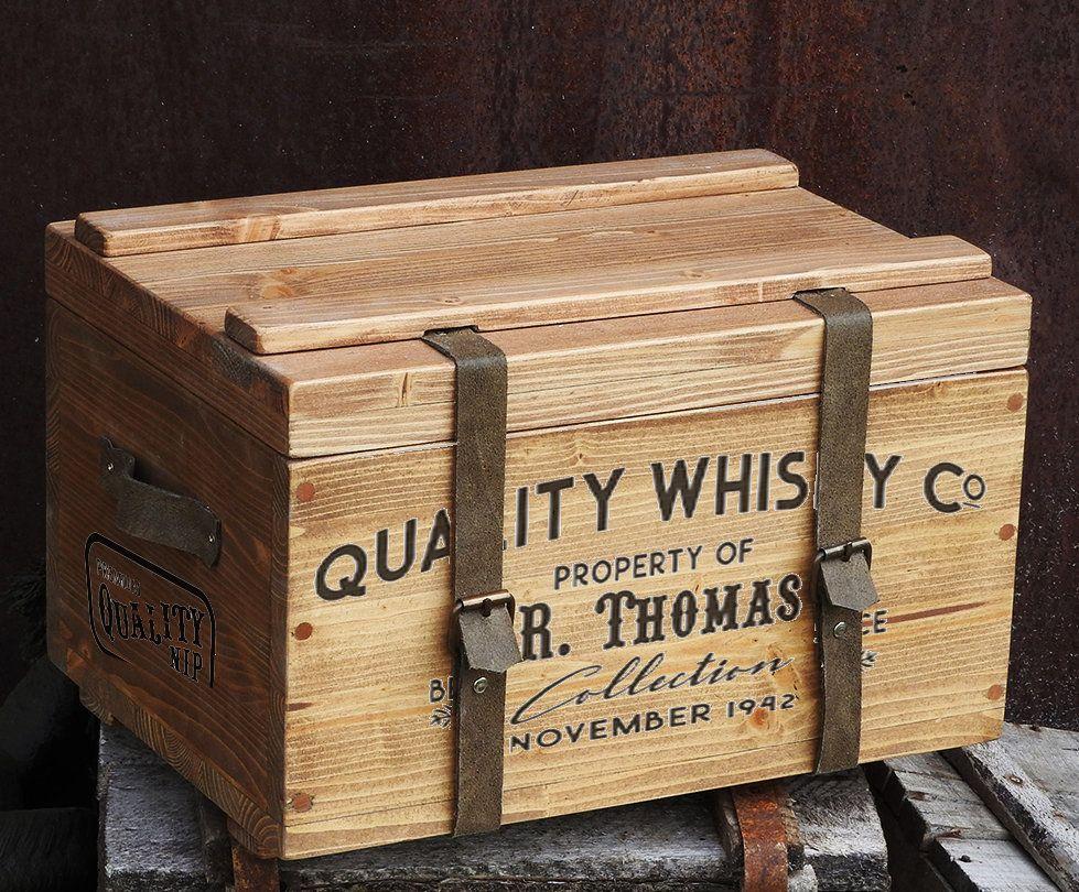 Keepsake Box Rustic Whiskey Box Gift Box For Him Treasure Chest Wedding Card Holder Personalised Gift For Men Vintage Wood Chest Vintage Wood Chest Wood Gift Box Rustic Wood Box