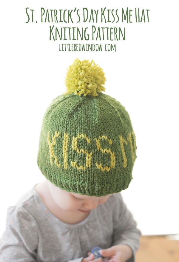 St. Patrick\'s Day Kiss Me Hat Knitting Pattern | Strick