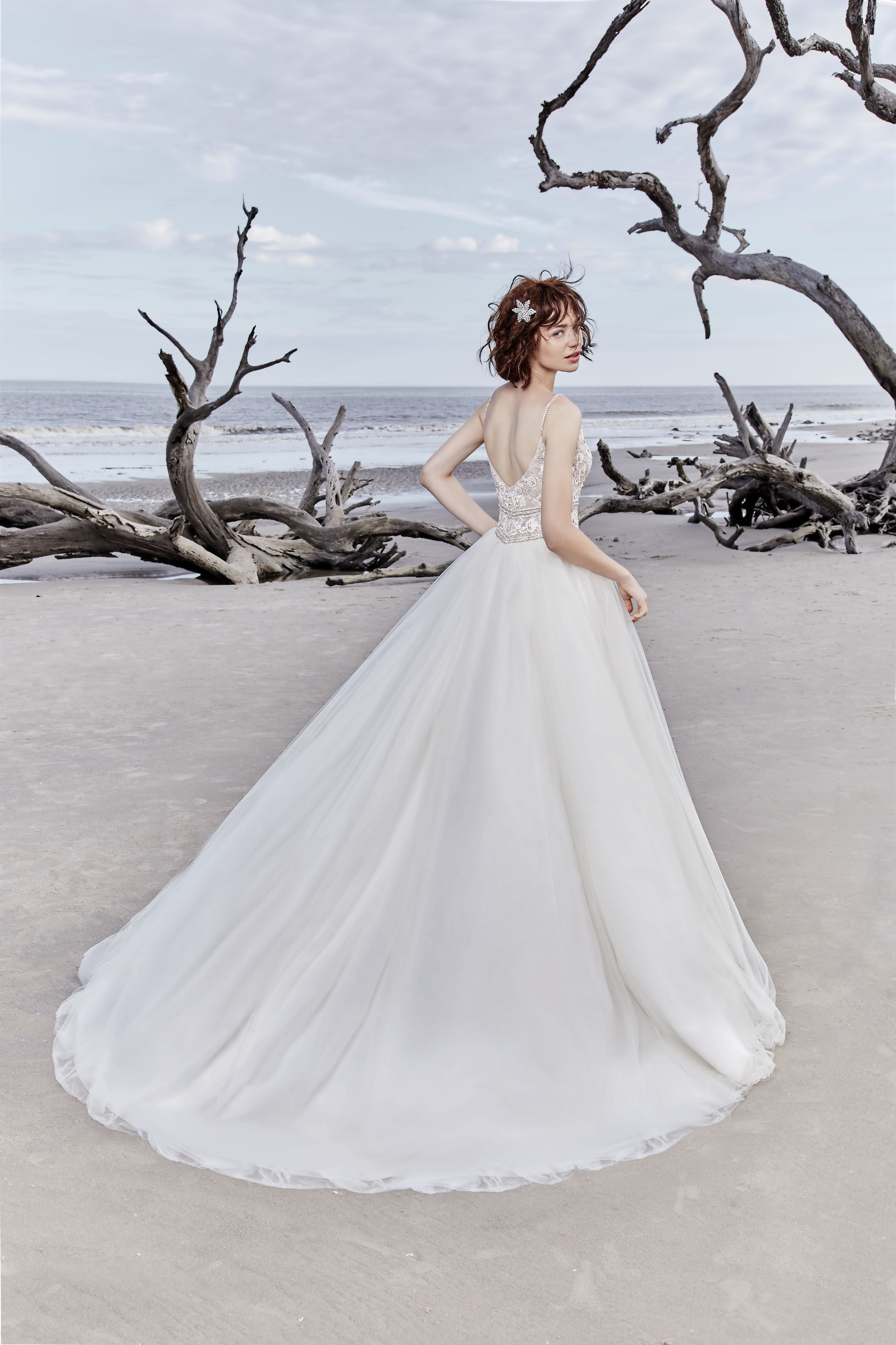 Ball gown wedding gown, with beaded bodice and diamond