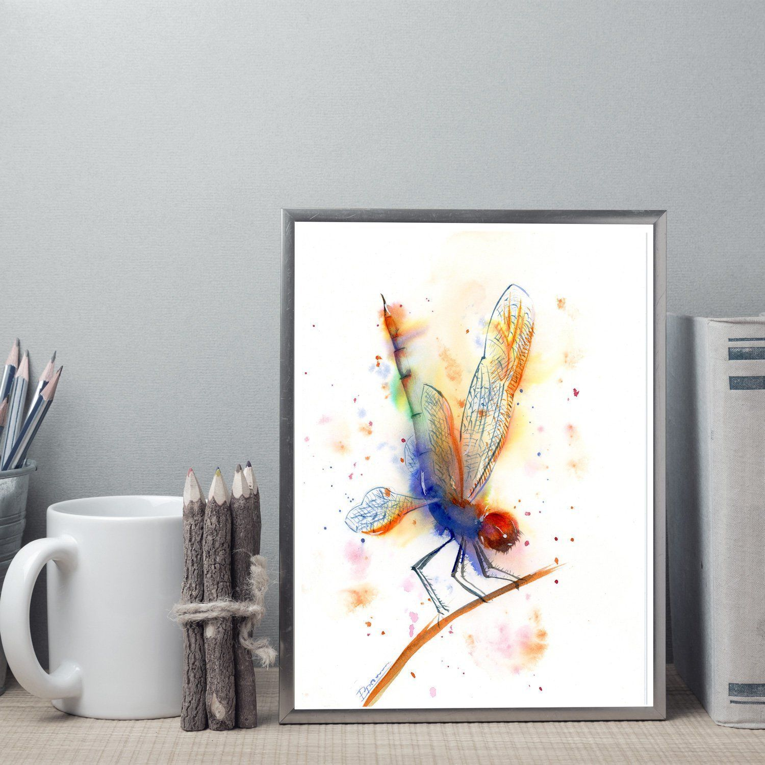 Dragonfly painting Original watercolor Insect Nature art