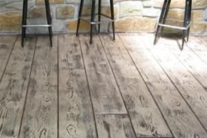 Stamped And Stained Concrete Floor Looks Like Wood Love This