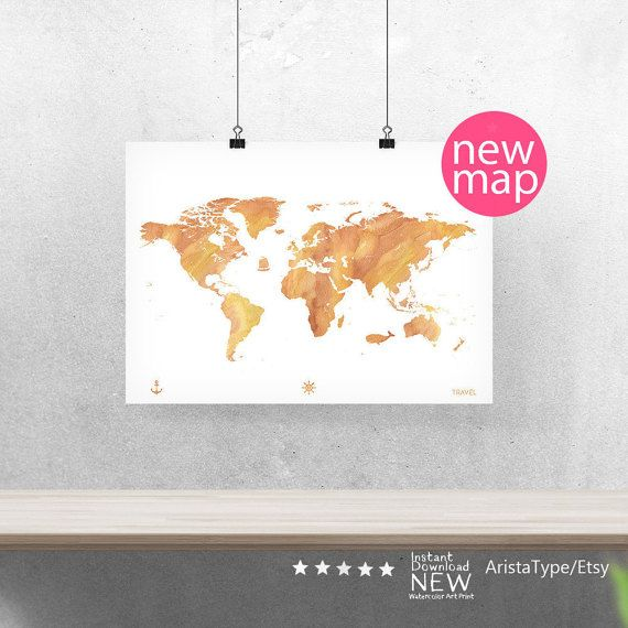 World map poster stone color a3 10x8 14x11 20x16 24x18 world map poster stone color a3 10x8 14x11 20x16 24x18 watercolor world map continents map office home wall decor printable gumiabroncs Image collections