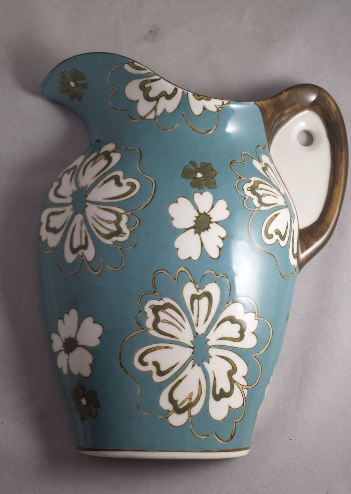 Country Blue Floral Large 10 Ceramic Water Pitcher Wall Pocket Vase