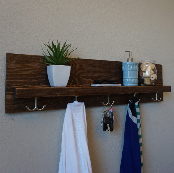Modern Rustic Entryway Coat Rack With Floating Shelf And Hanging Hooks Floating Shelves Entryway Coat Rack Ikea Floating Shelves