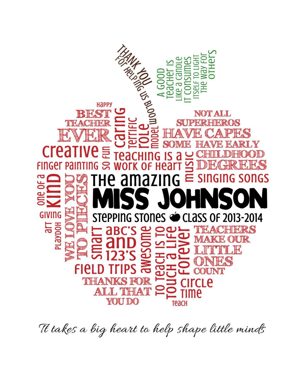 Personalized Teacher Appreciation T Apple Word Art