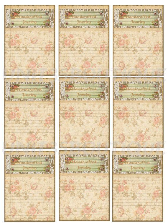 Vintage Style Earring Display Cards Digital Download 9 cards Per