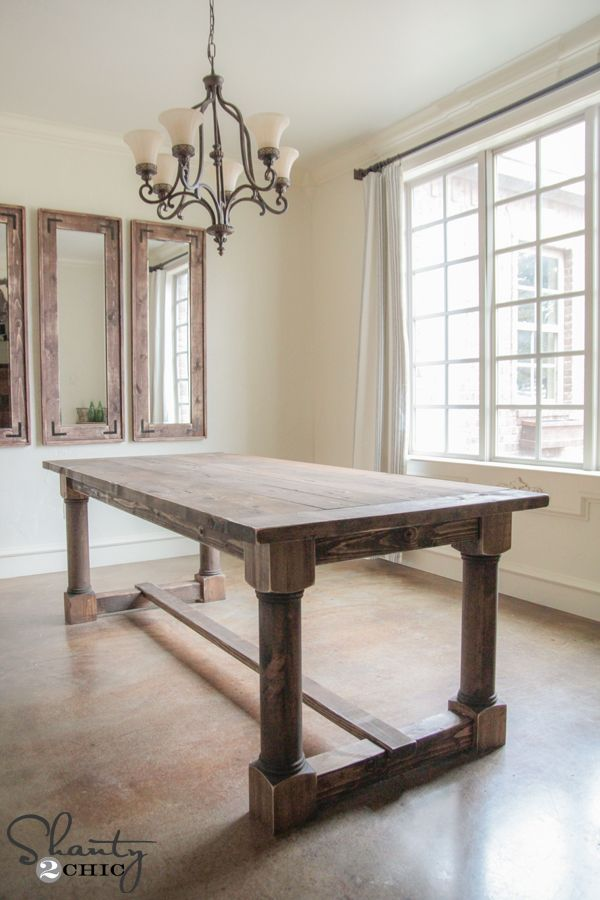 Diy Dining Table With Turned Legs Rustic Farmhouse Table Diy
