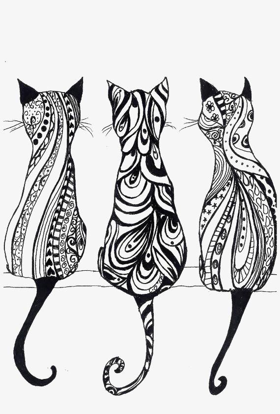 Black And White Line Art Cat Mandala Design Art Cat Art Zentangle Drawings