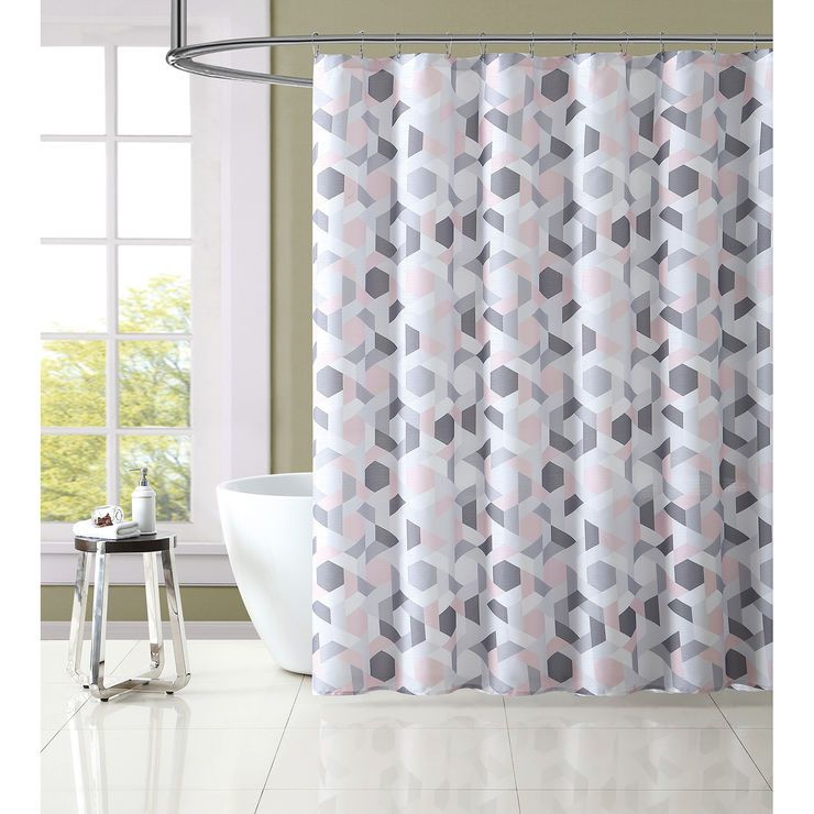 Light Pink Gray Geometric Shower Curtain Set Shower Curtain