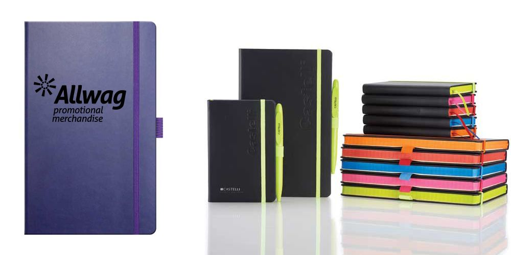Branded Castelli notebooks and diaries with a colour trim