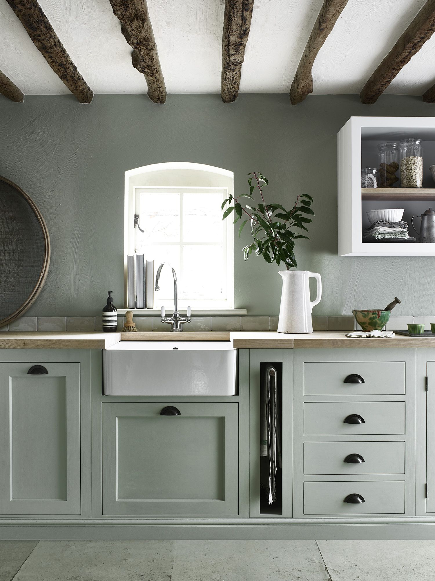 Henley Kitchen Handpainted In Sage Great Idea For Pull Out Towel - Dark grey painted kitchen cabinets