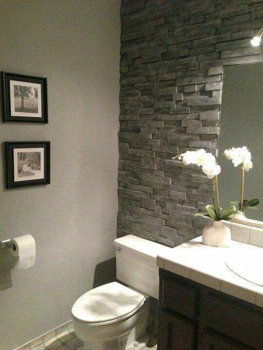 Ba o pared piedra casa stone bathroom basement - Banos con paredes de piedra ...