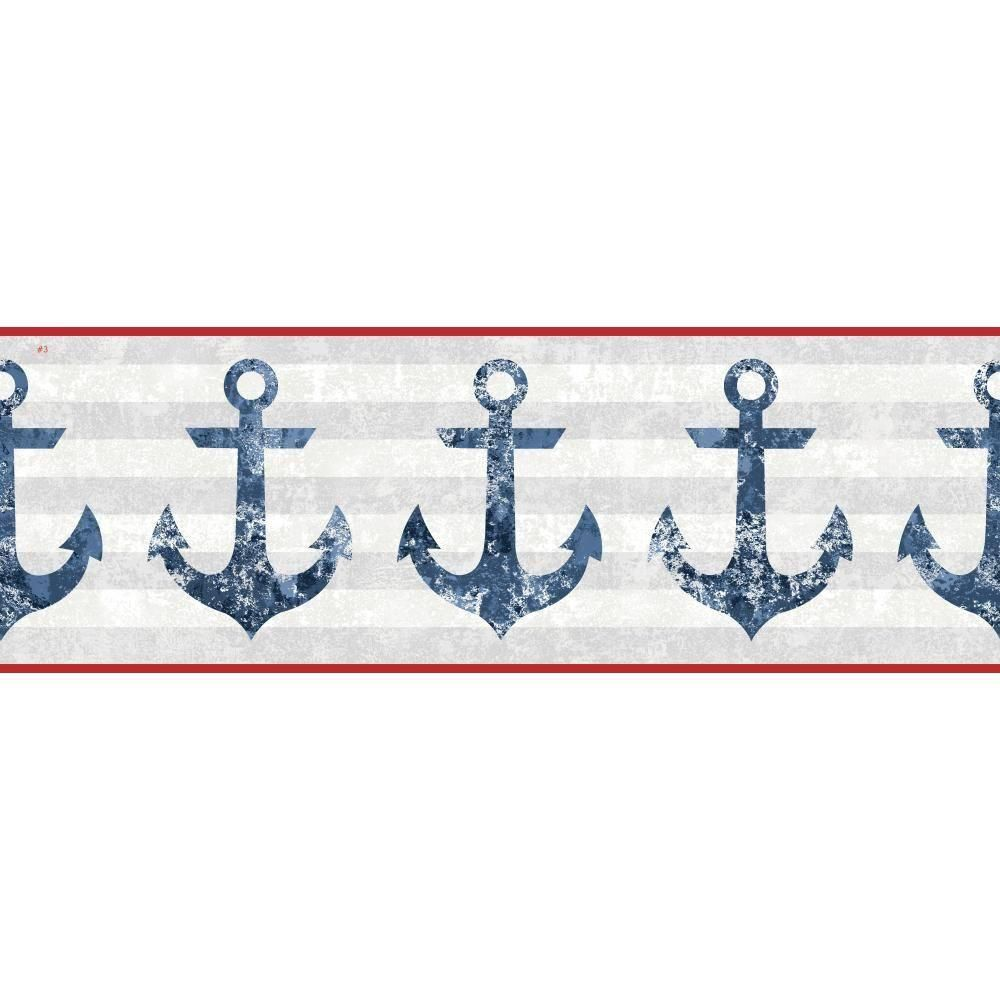 York Wallcoverings Nautical Living Anchors Away Wallpaper