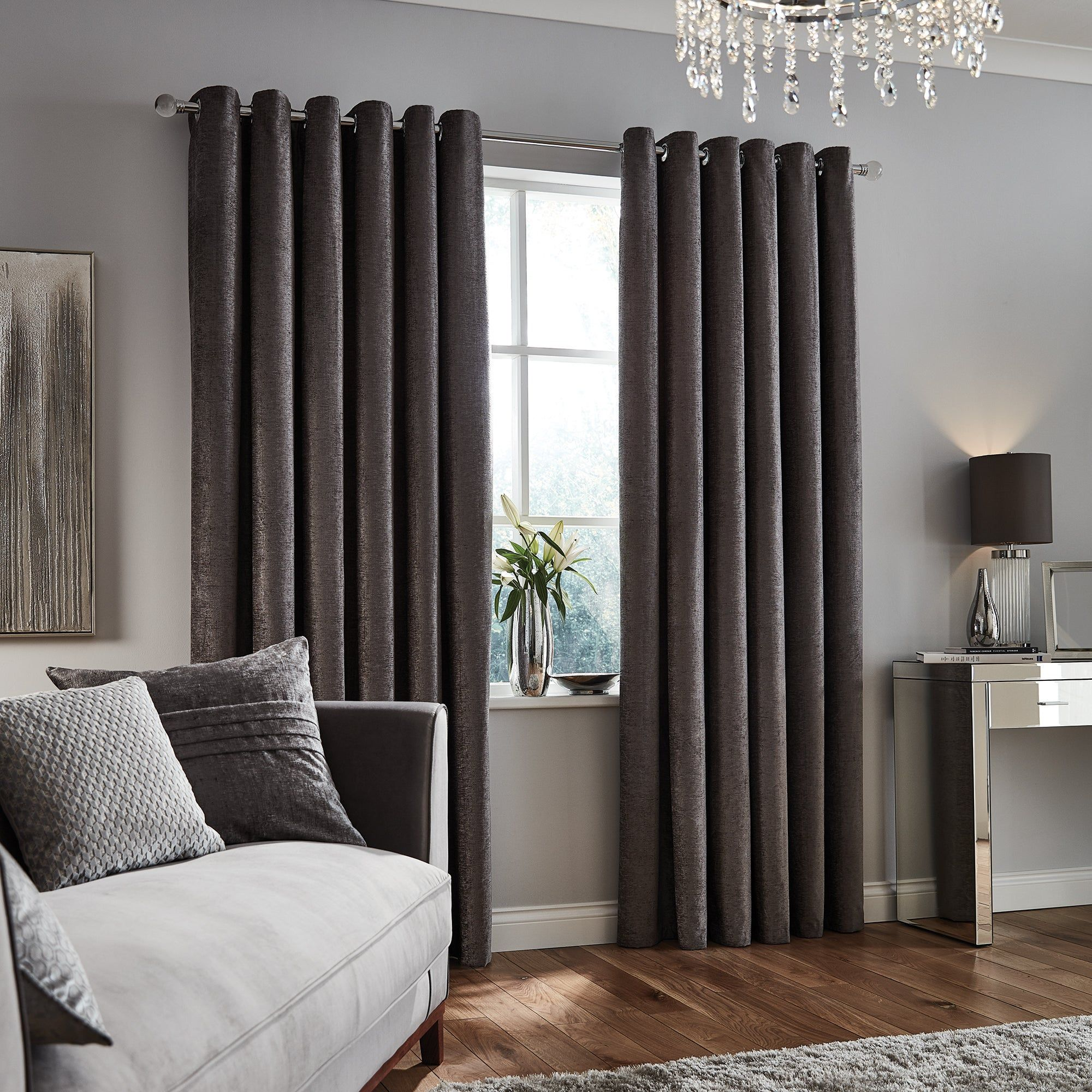 Chenille Grey Eyelet Curtains Grey Eyelet Curtains Chenille Curtains Luxury Living Room
