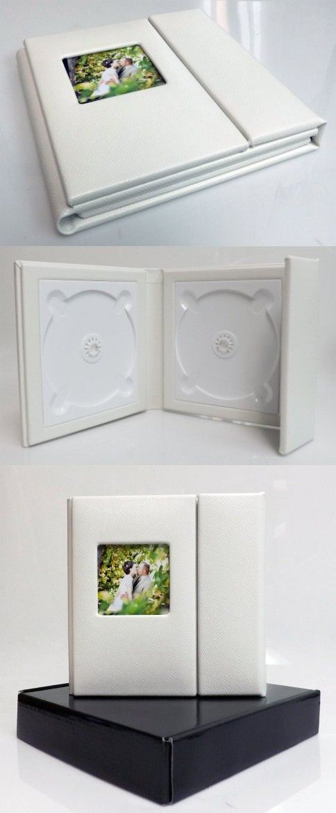 Wedding Story DVD/CD Case (Set of 2), White , Textured PU Leather, Overlapping, Holds 2 Disc/1 photo