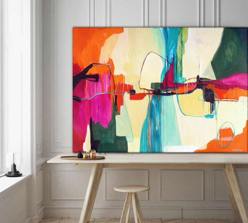 Large abstract painting titled Cool Life by artist Sarina