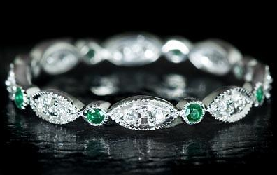 Emerald wedding bandPerhaps an accent to your emerald engagement