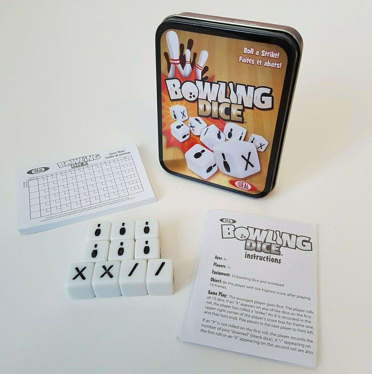 Ideal Bowling Dice Game Roll A Strike In Tin Metal Case Container Complete Ebay In 2020 Favorite Board Games Personalized Stocking Stuffers Ebay