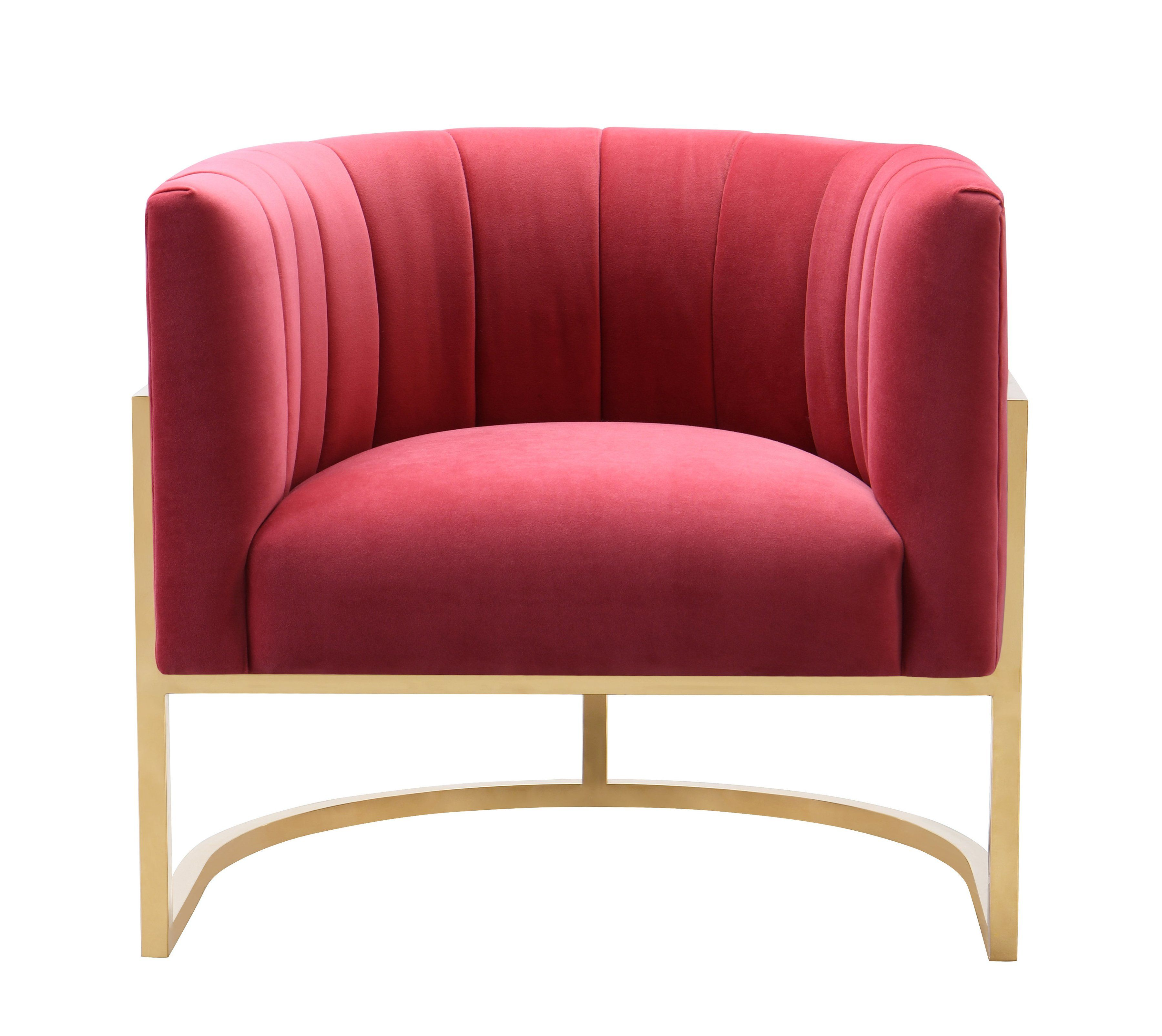 Tov Furniture Modern Magnolia Hot Pink Velvet Chair Tov S6160