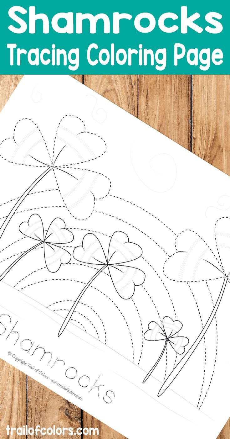 Shamrocks Tracing Coloring Page | Free Kids Coloring Pages ...