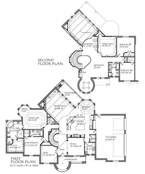 2 story 3990 square foot air conditioning 4 bedroom 3 1 for House plans with 2 story library