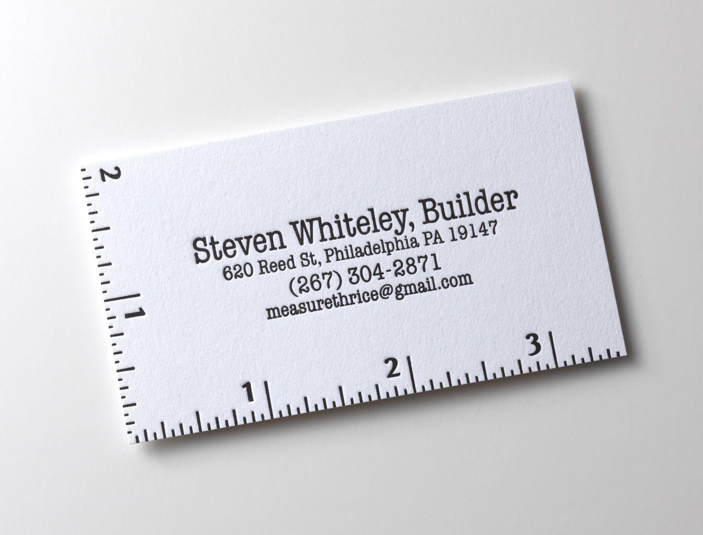 Resultado de imagen para tarjetas de presentacion construccion this is a cool minimal business card design from steven whiteley a builder from philadelphia us magicingreecefo Images