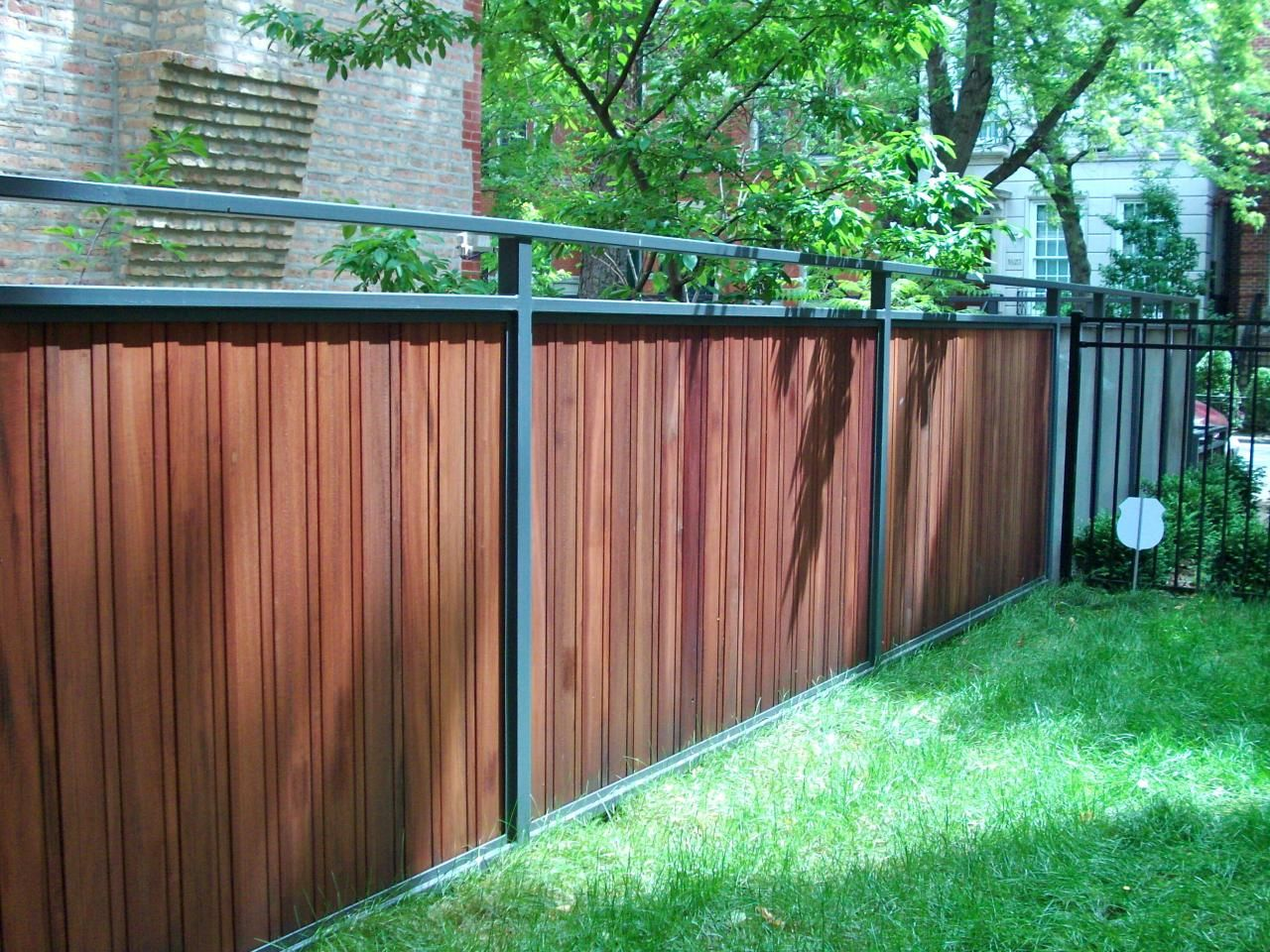 Iron And Wood Privacy Fence Google Search Wood Fence Design