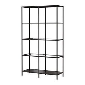 Black Bookcase Glass With Metal Frame Shelving Unit Ikea Vittsjo Display Rack