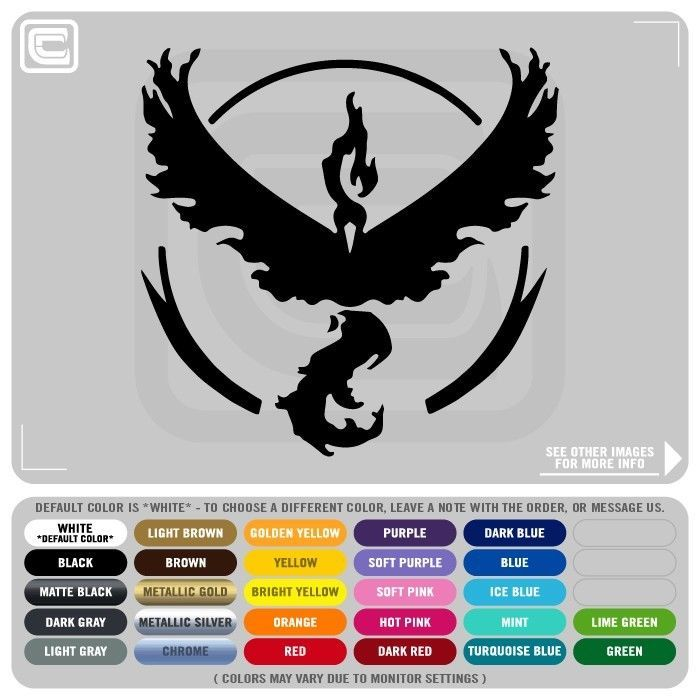 Pokemon go team valor symbol logo vinyl decals stickers