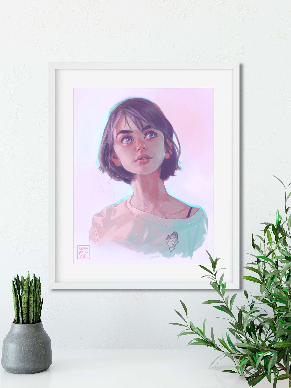Crystal wall art decor illustration print office art