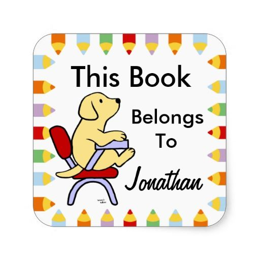 Yellow Labrador Student 1 Cartoon Book Label Stickers!  #yellowlabrador #labradorretriever #dog #booklabel