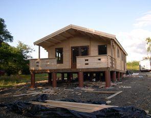 Log cabin foundations tiny house pinterest log for Tiny house built on foundation