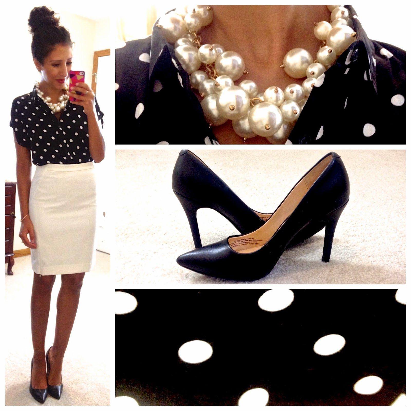 black & white polka dot blouse / white pencil skirt / black pumps