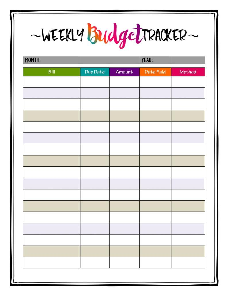 Weekly Budget Planner Printable Bill Payment Planner Insert Etsy In 2020 Monthly Budget Planner Monthly Budget Printable Budget Planner Printable
